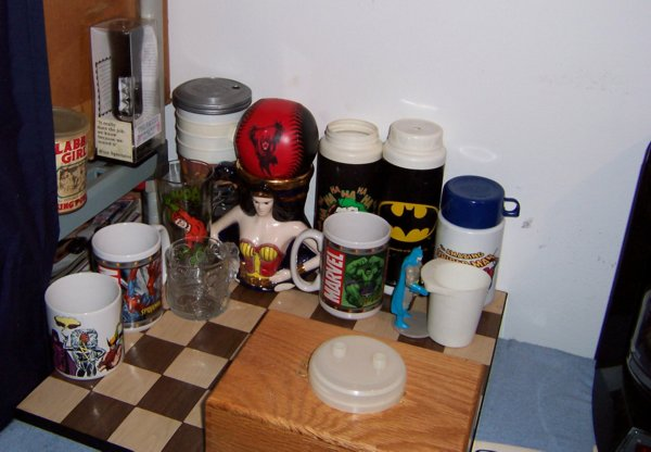 All My Comic Book Themed Drinkware I Have Picked Up Over The Years Wonder Woman Mug Is Favorite Found That At A Garage Sale For Quarter