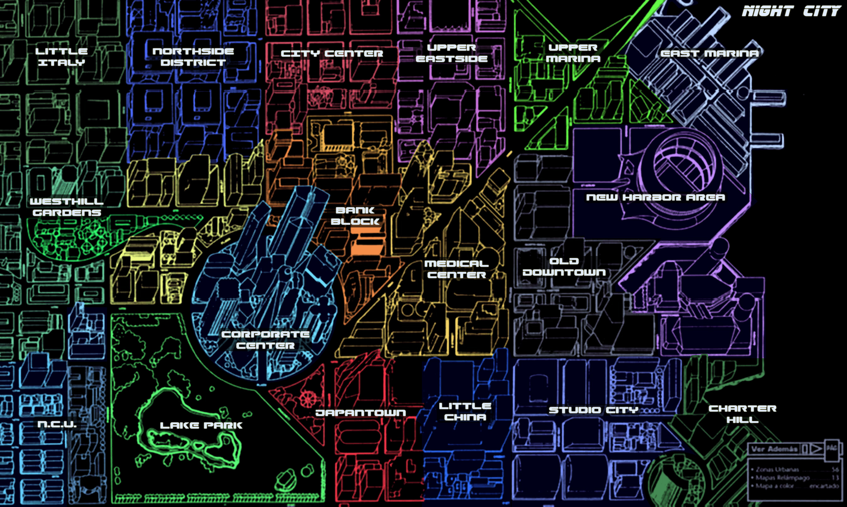 Night City map and districts. : cyberpunkgame